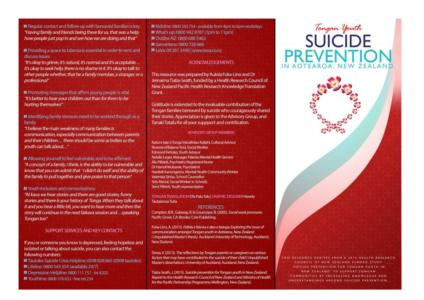 Tongan youth suicide prevention