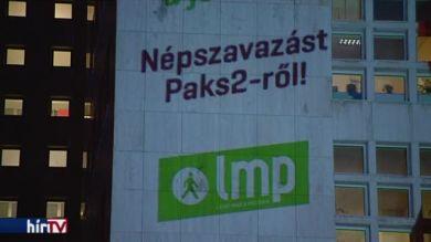 Az LMP fényfestése a Képviselői Irodaházon