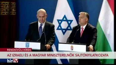 Benjamin Netanjahu és Orbán Viktor tájékoztatója