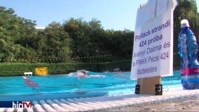 14 kilométer úszás a kedvenc kosárlabda csapat tiszteletére Pécsett