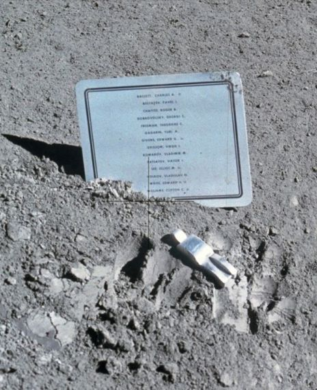 The crew of Apollo 15 placed an aluminum sculpture called Fallen Astronaut on the moon.