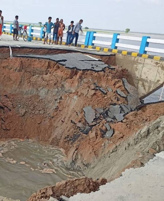 Sattarghat bridge inaugurated by CM Nitish Kumar collapsed in Gopalganj.