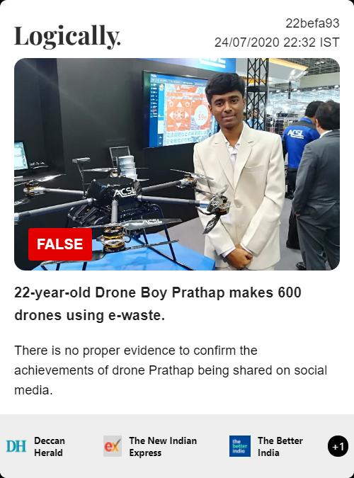 22-year-old Drone Boy Prathap makes 600 drones using e-waste.