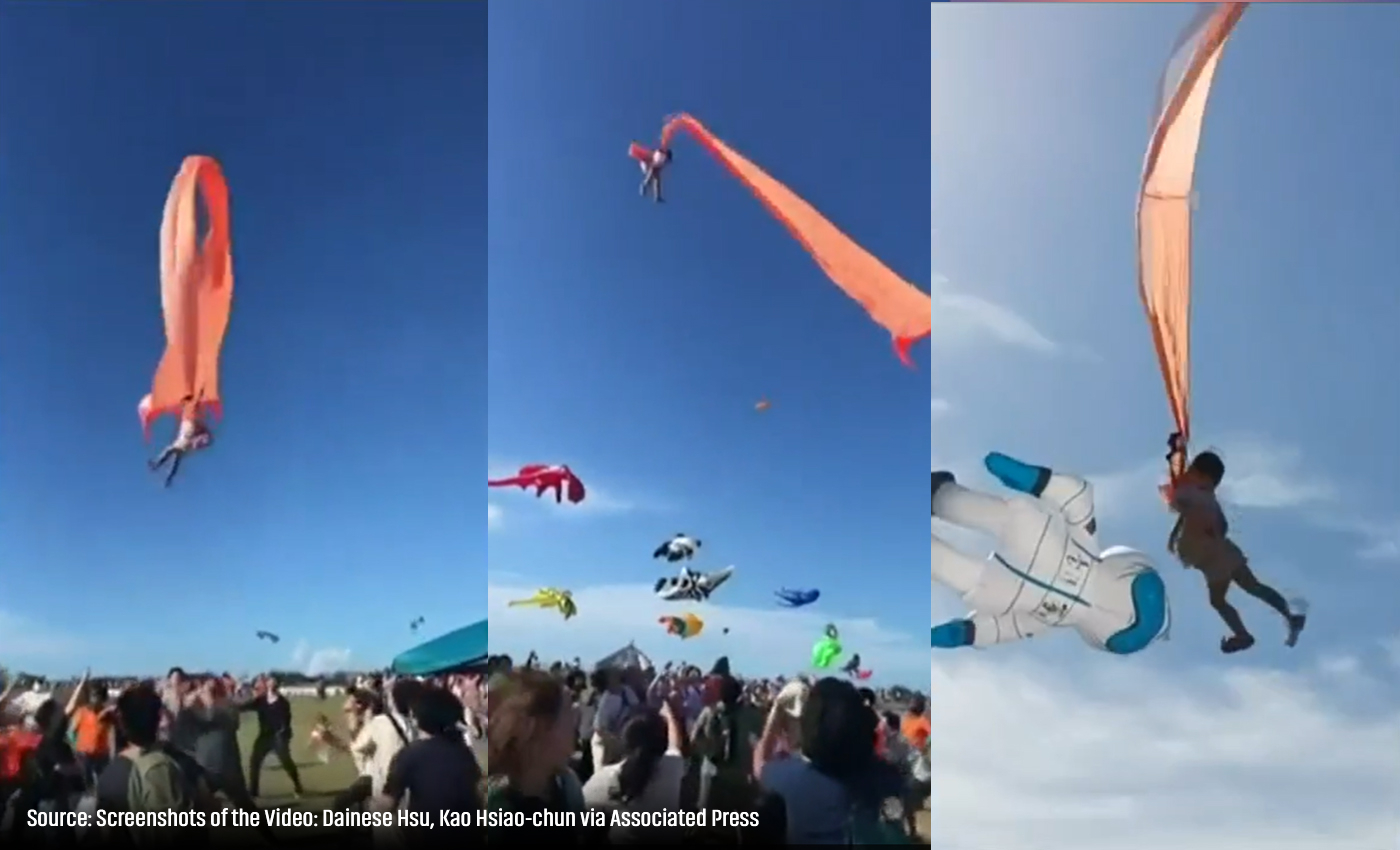 A 3-year-old girl became entangled in the tail of a giant kite and sent flying high into the air.