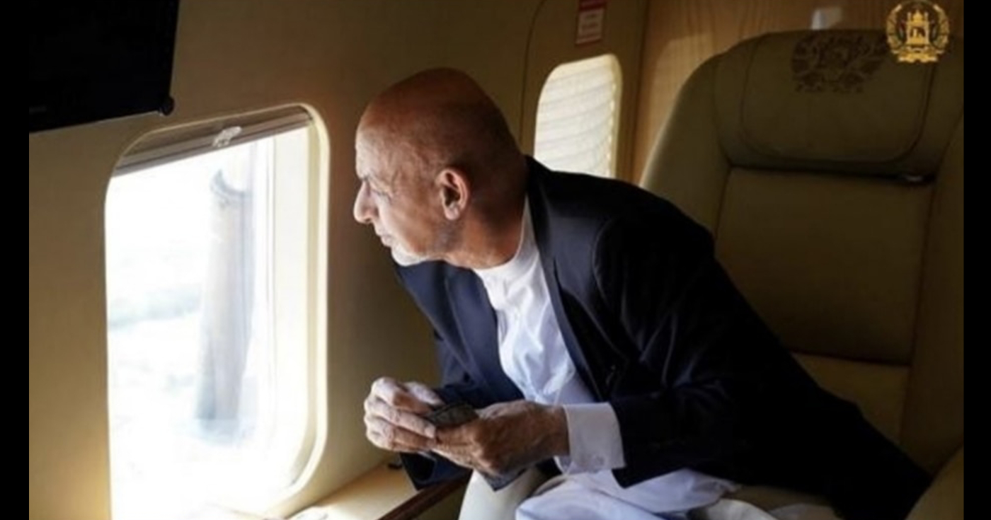 A video shows Ashraf Ghani fleeing Afghanistan as the Taliban takes control of the country.