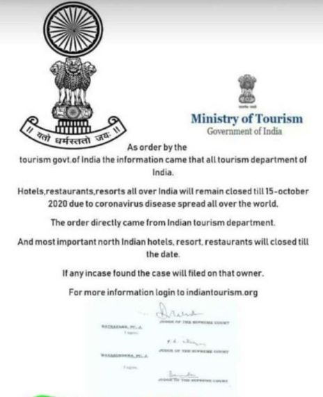 Hotels, restaurants and resorts all over India will remain closed until 15 October 2020 due to coronavirus pandemic.