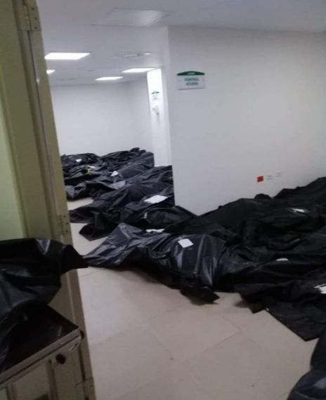 A video shows an hospital in the U.Sis being flooded with bodies due to coronavirus.