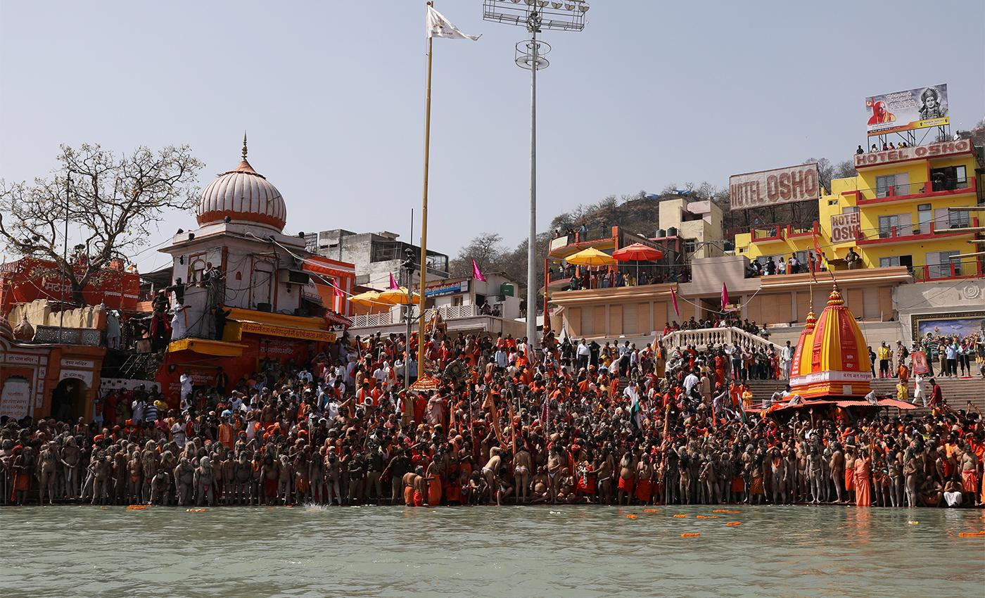 Amit Shah and Yogi Adityanath took part in the 2021 Kumbh Mela's holy dip ceremony in Haridwar, Uttarakhand.