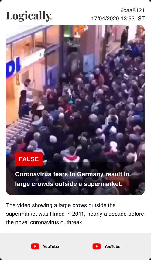 Coronavirus fears in Germany result in large crowds outside a supermarket.