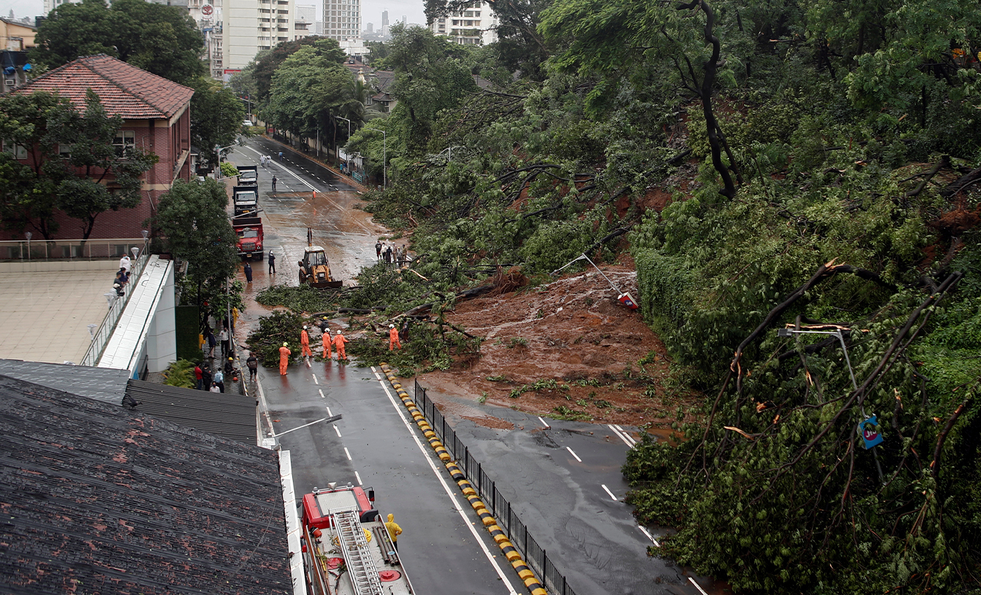Massive rainfall caused a landslide on Western Express Highway in Mumbai.