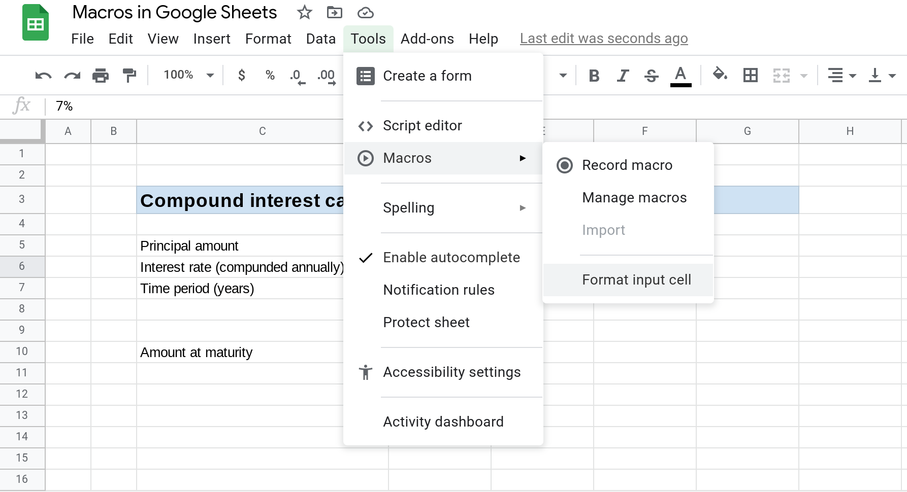 "A screenshot of a Google Sheets spreadsheet showing the Tools --> Macros menu open and the ""Format input cell"" macro selected."