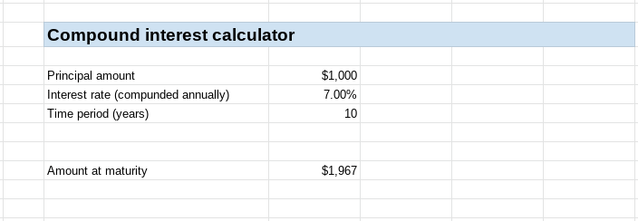 A screenshot of a simple compound interest calculator in Google Sheets.