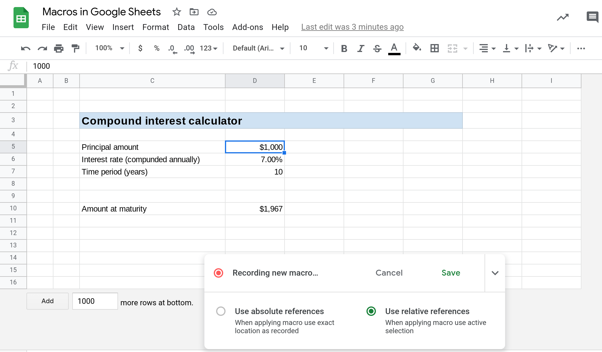 A screenshot showing a macro being recorded in Google Sheets.
