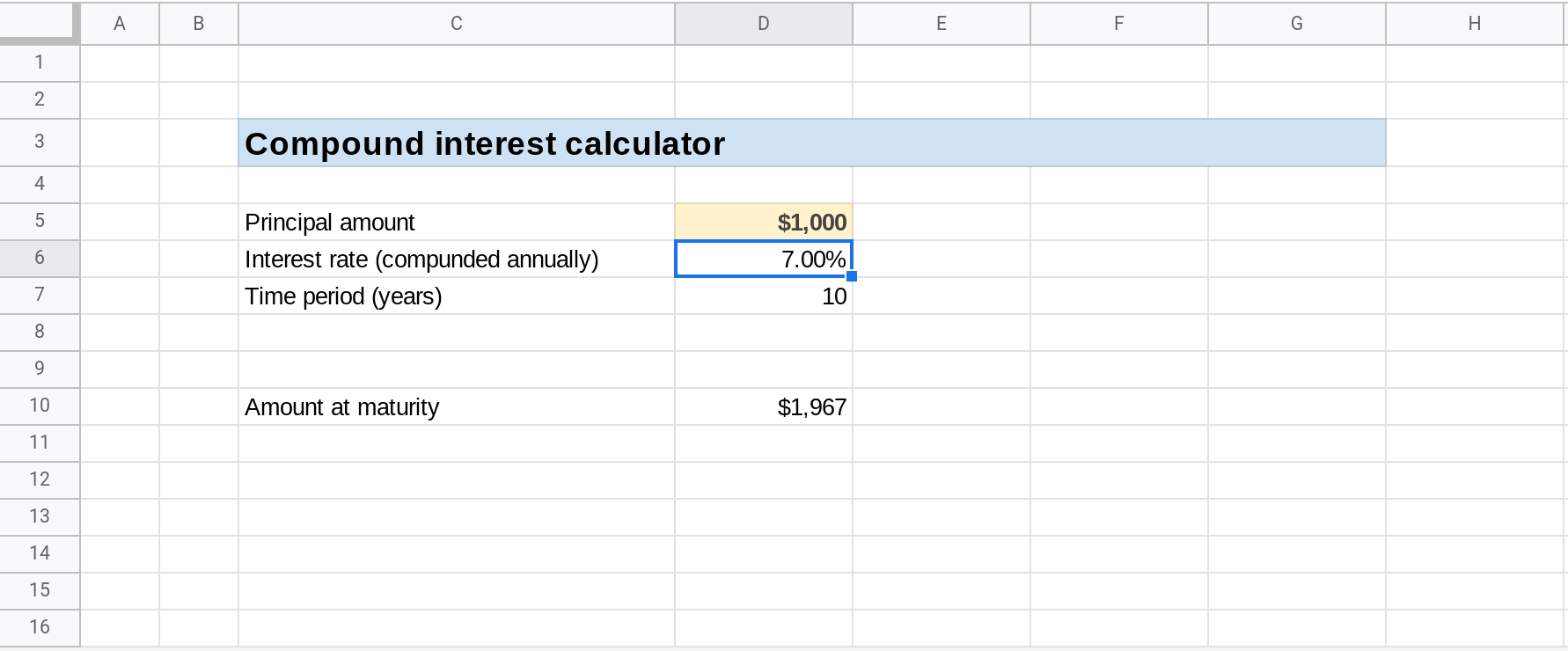A screenshot of a Google Sheets spreadsheet. The cell D6 is selected.