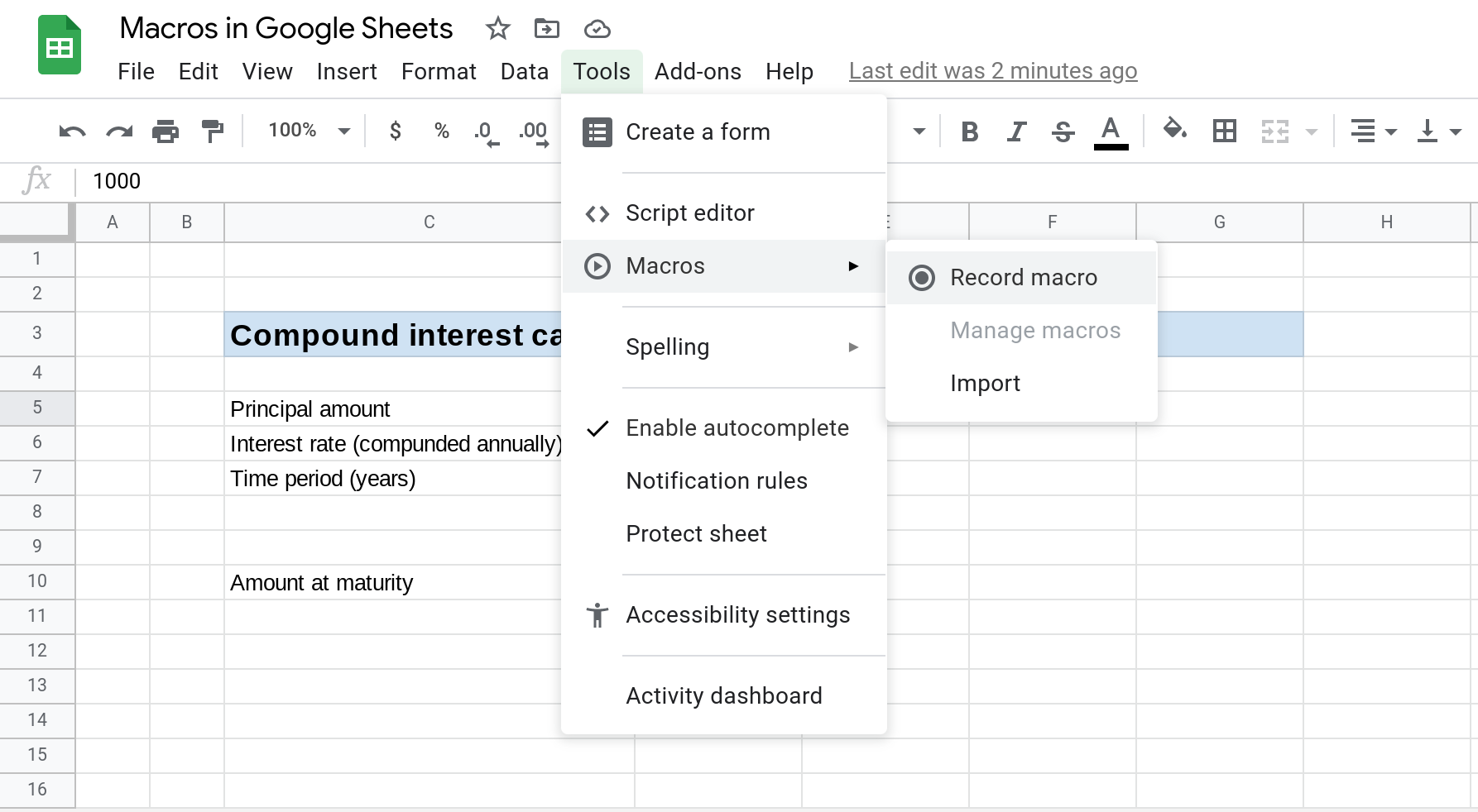 A screenshot of Google Sheets that shows the Tools --> Macros menu open and the Record macro menu item selected.