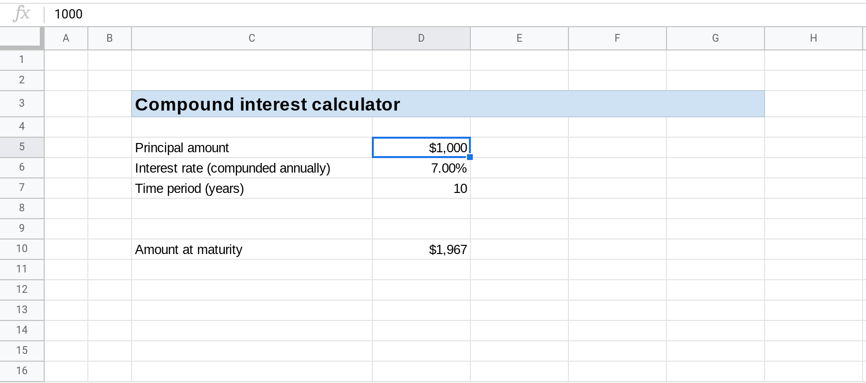 A screenshot of Google Sheets where cell D5 is selected.