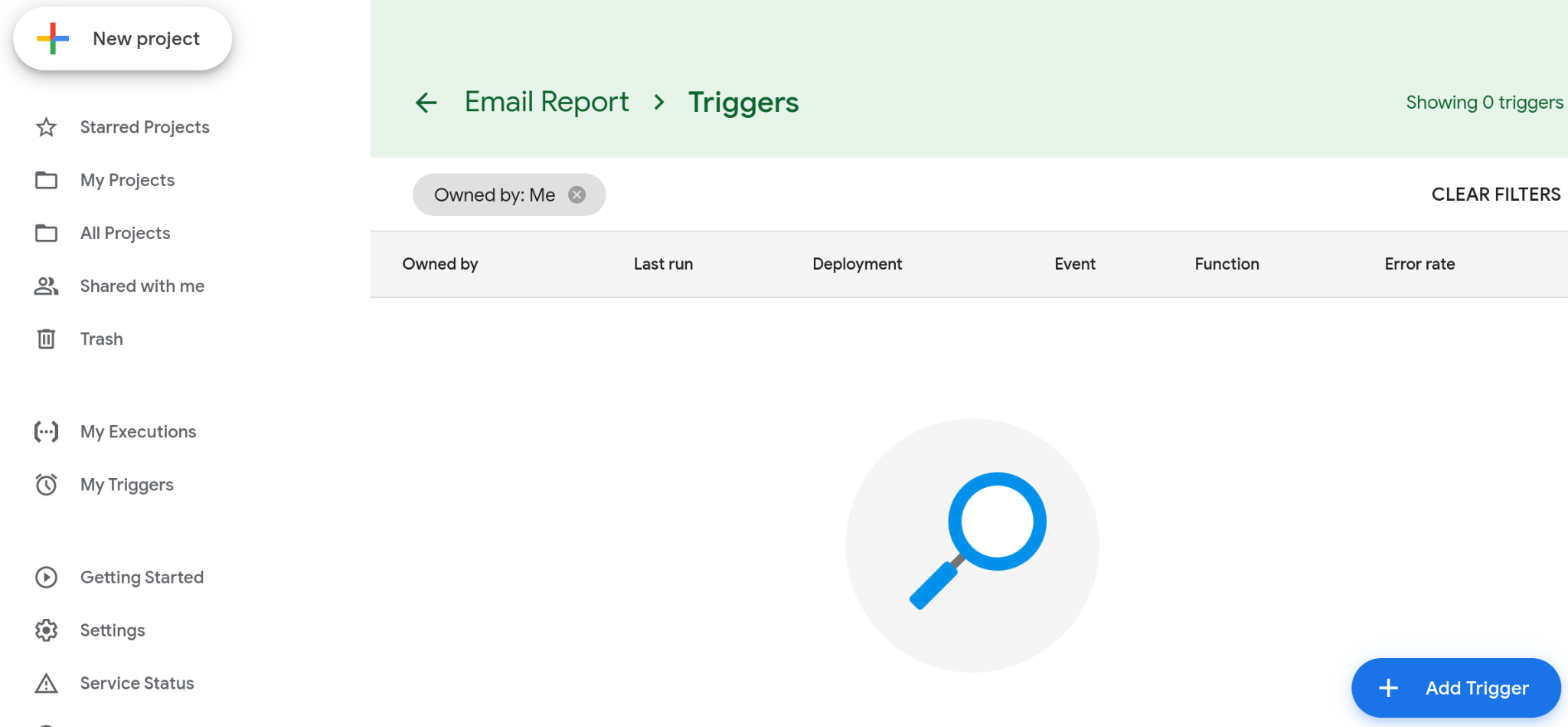 """A screenshot of an empty Triggers page. The page has an """"Add Trigger"""" button that you can click to begin setting up a trigger."""