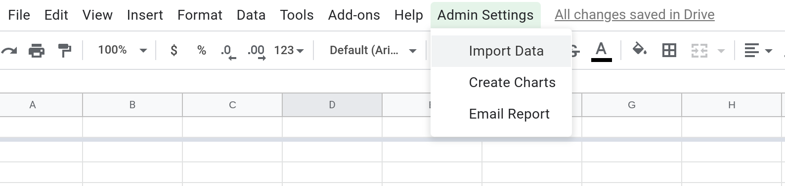 """A screenshot of a Google Sheets spreadsheet with a custom menu called """"Admin Settings"""".  The menu is open and has three menu items: Import data, Create charts and Email report."""