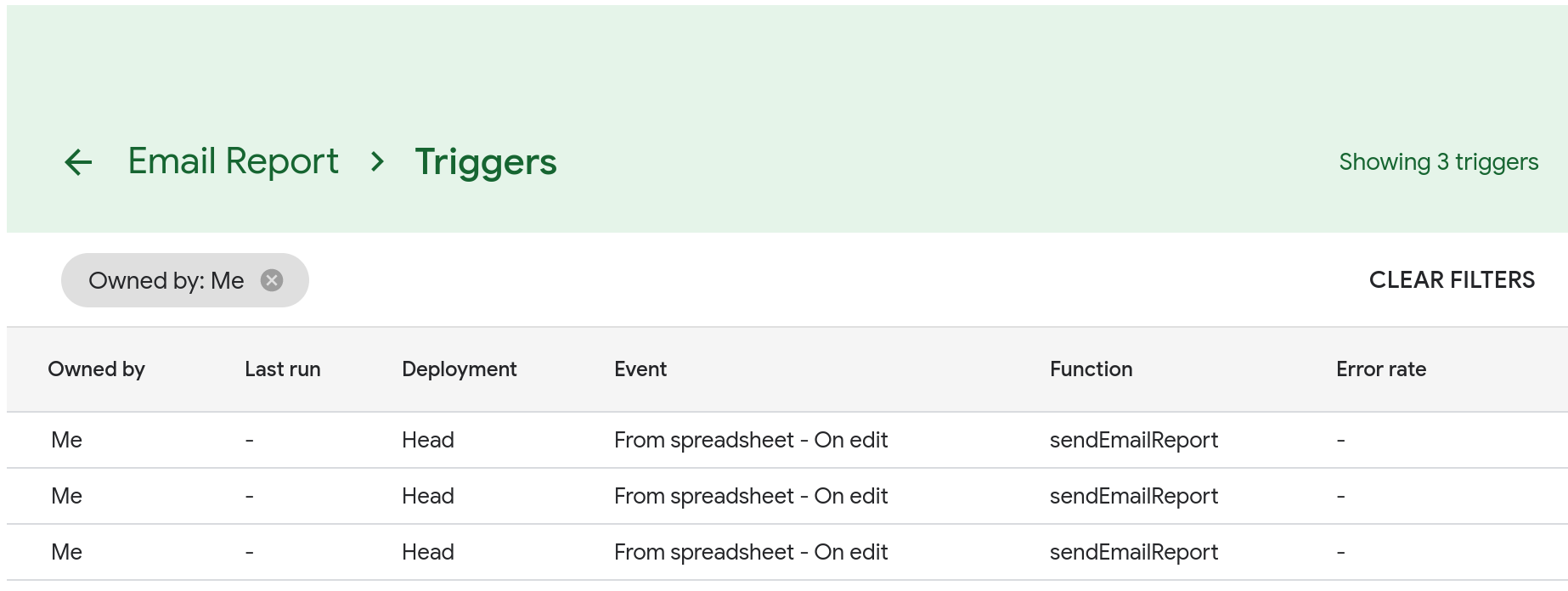 A screenshot of the Triggers page that lists three identical Edit triggers.