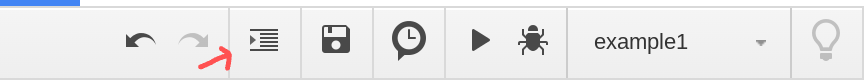 Screenshot of the toolbar in the Google Apps Script editor.
