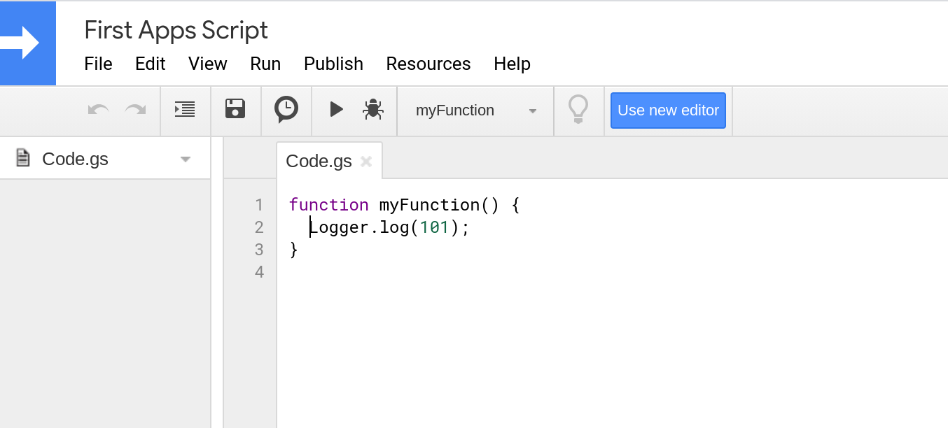 Screenshot of the legacy Apps Script code editor.