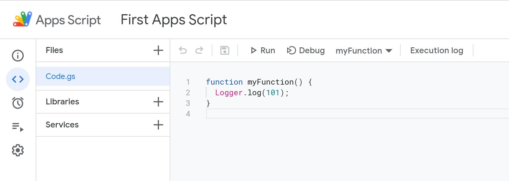 Screenshot of the new Apps Script code editor.