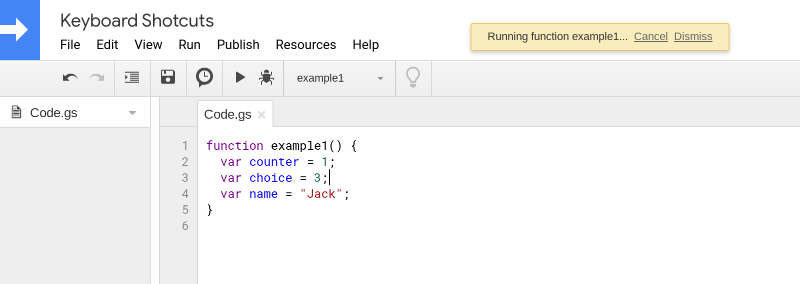 Screenshot of the Google Apps Script editor.