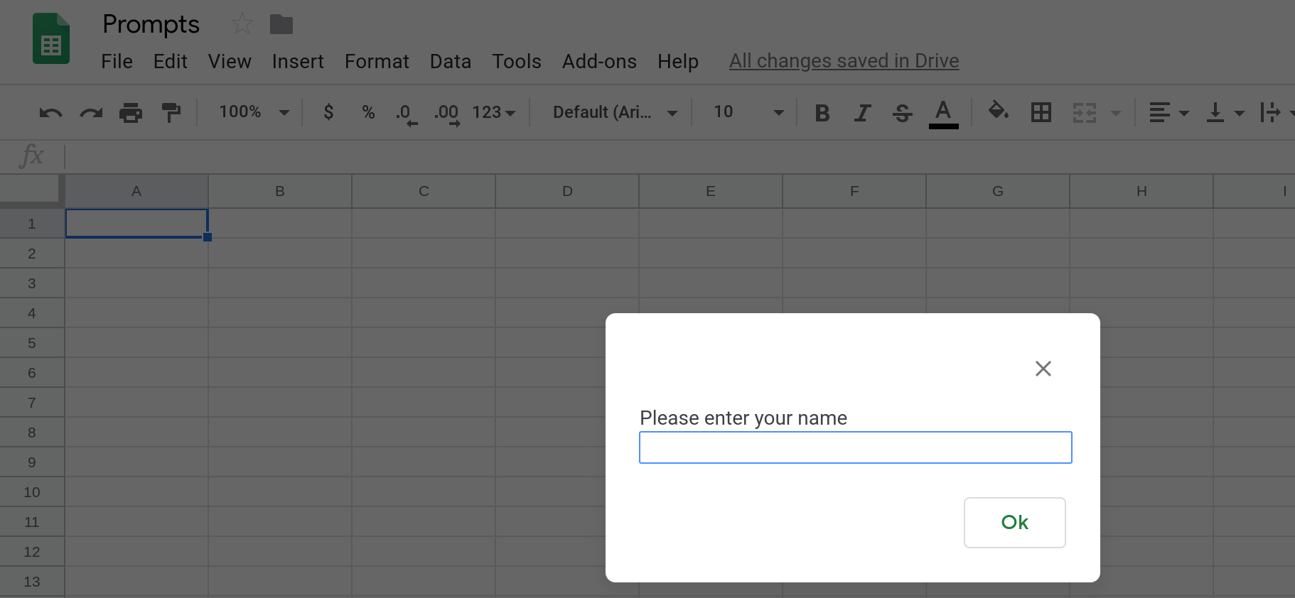Screenshot of a Google Sheets spreadsheet displaying a prompt that is asking the user to enter their name.