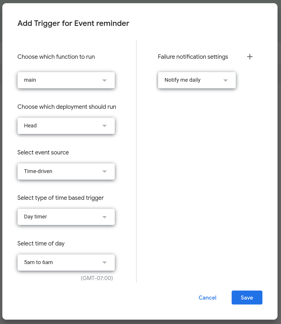 Screenshot of a modal dialog displaying options to configure the trigger.