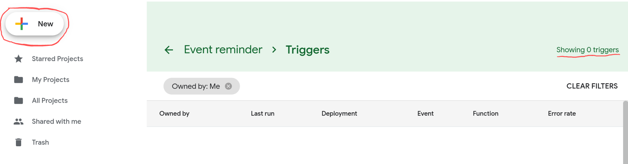 Screenshot of the triggers page.