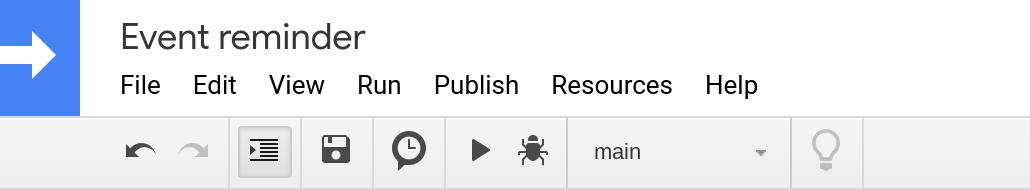Screenshot of the Google Apps Script editor