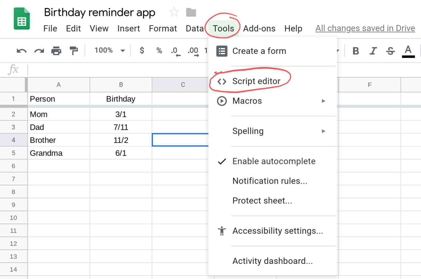 Screenshot of a Google Sheets spreadsheet with the Tools menu open.