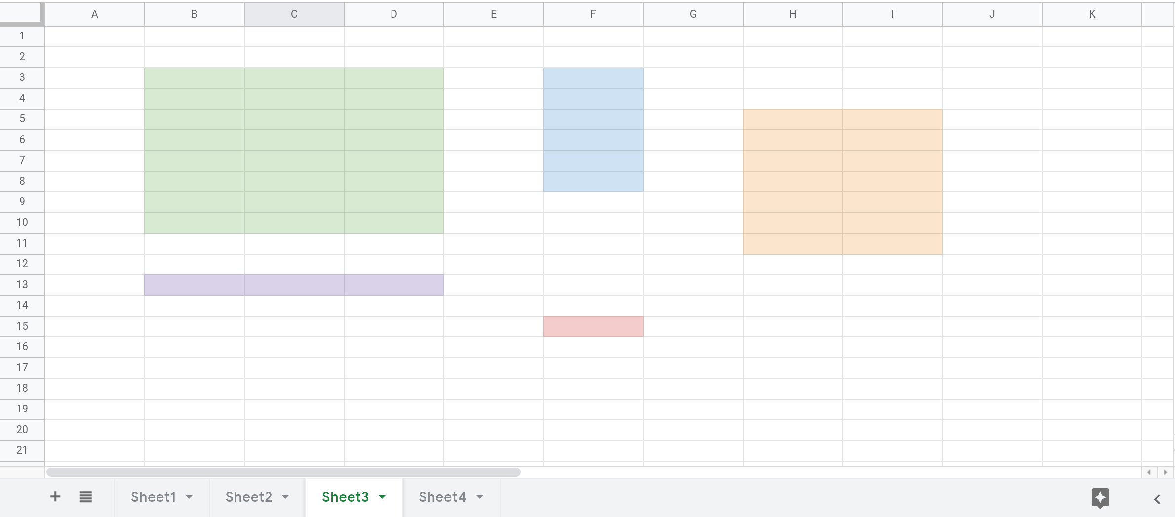 Screenshot of a Google Sheets spreadsheet that shows 5 ranges highlighted in Sheet3.