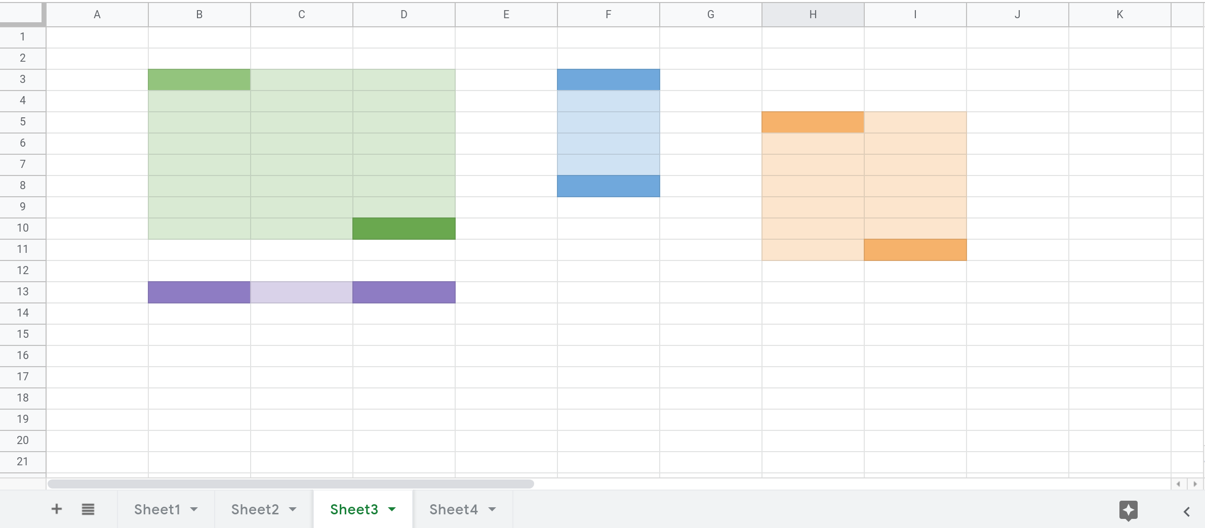Screenshot of a Google Sheets spreadsheet that shows 4 ranges highlighted in Sheet3. The cells at the top left and bottom right corner of each range are filled with a darker color.