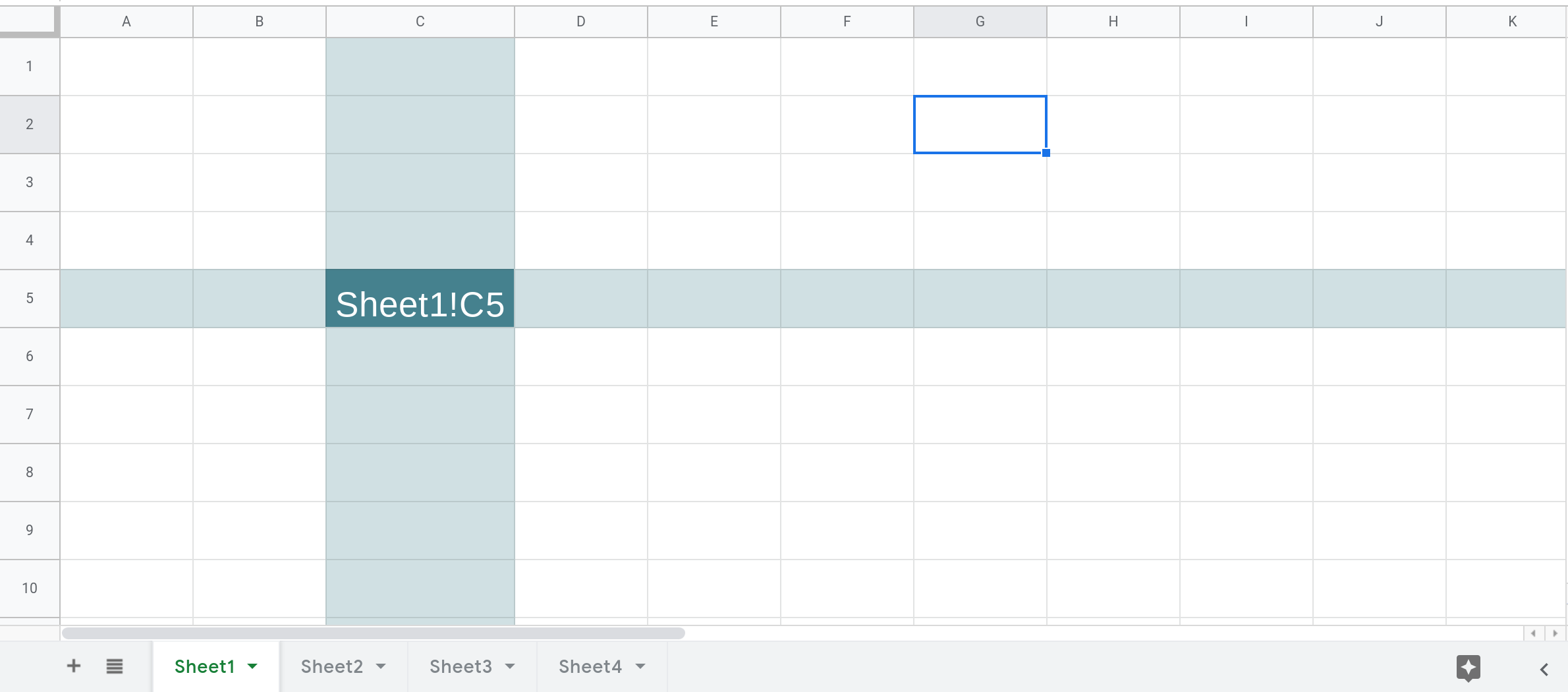 Screenshot of a Google Sheets spreadsheet that shows column C and row 5 in Sheet1 filled with a background color. Their intersection, cell Sheet1!C5 is filled with a darker background color.