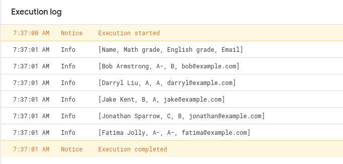 Screenshot of the execution log written by the script.