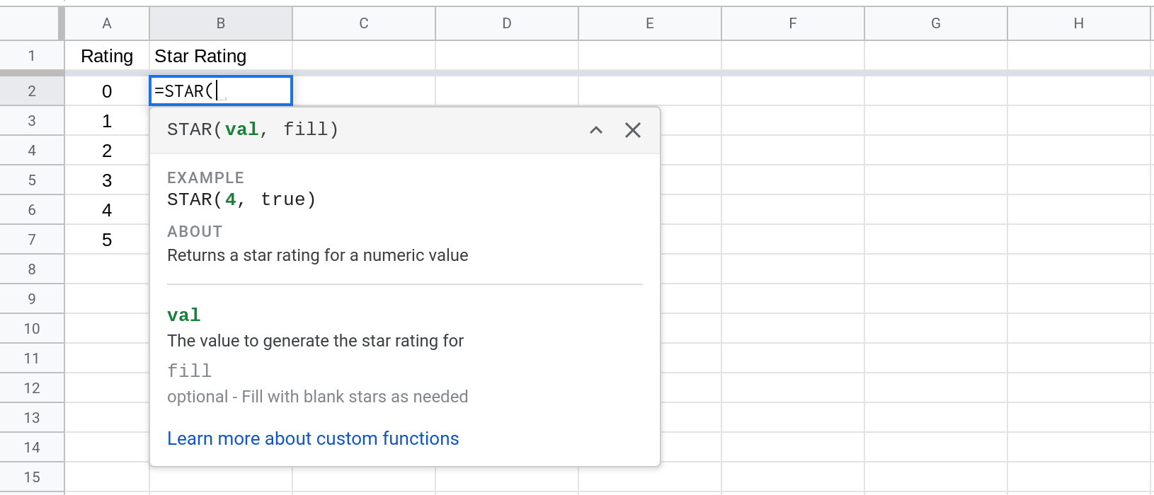 Screenshot of a Google Sheet showing how to use the STAR() function.