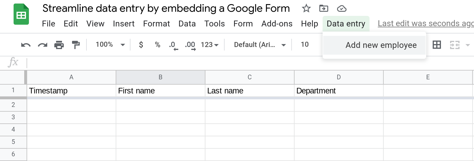 Screenshot of a Google Sheets spreadsheet with a custom menu called Data entry. The menu is open.