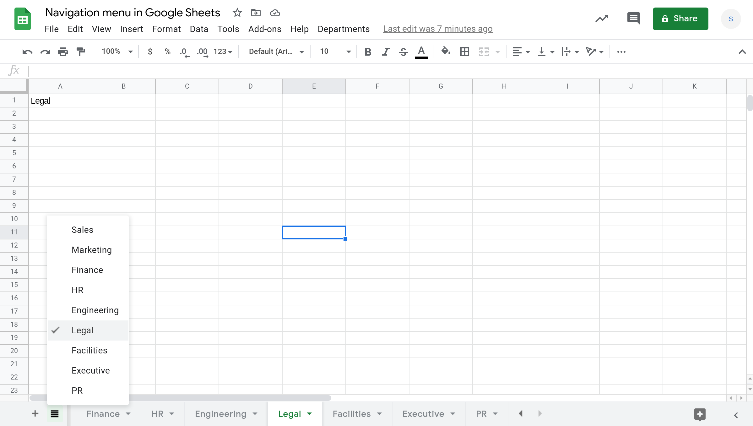 """Screenshot of a Google Sheets spreadsheet with the """"All sheets"""" menu open."""
