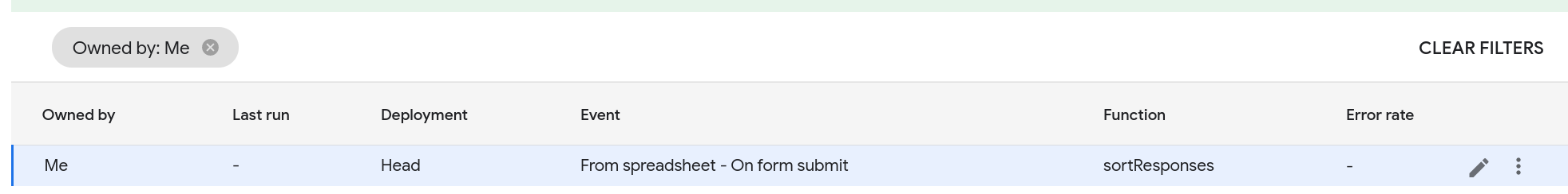 Screenshot of the script's triggers page displaying a form submit trigger.
