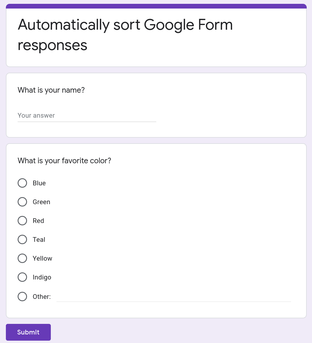 Screenshot of a Google Form containing two questions.