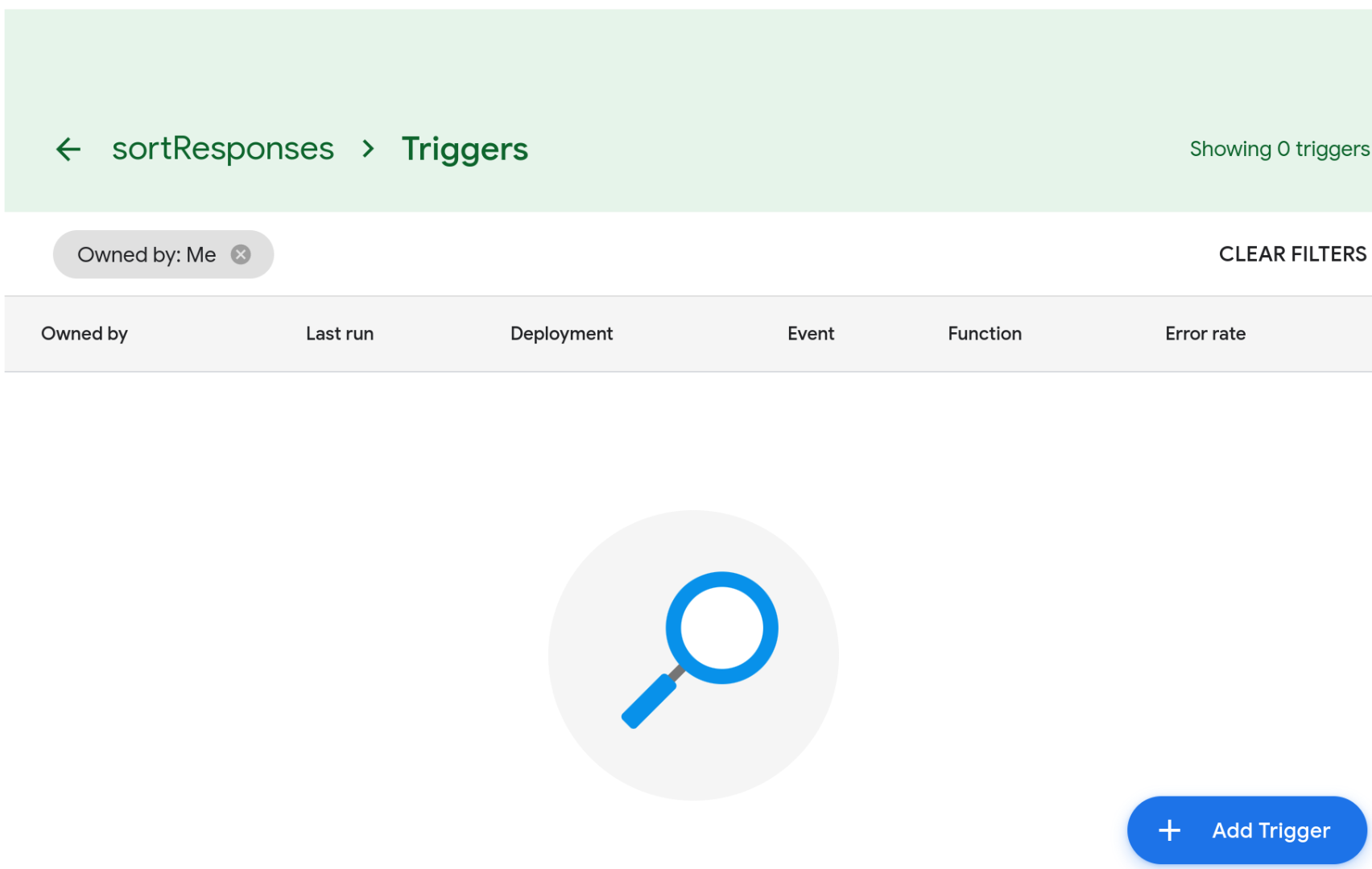 Screenshot of the script's triggers page. The page is empty since no triggers have been created for this script.