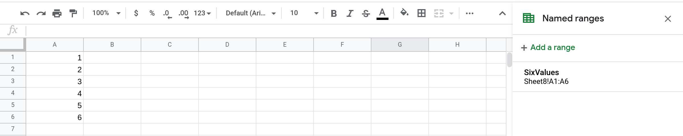 A screenshot of a Google Sheets spreadsheet containing a named range called SixValues.