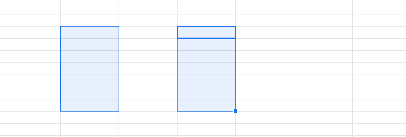 A screenshot of a Google Sheets spreadsheet that shows two ranges selected.