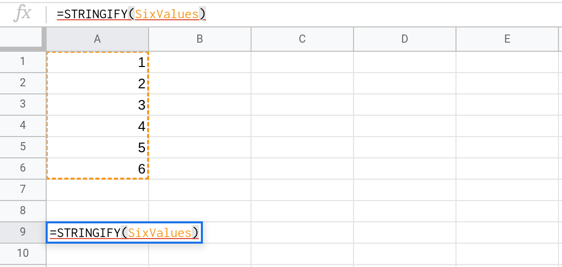 A screenshot of a Google Sheets spreadsheet showing the user entering the formula =STRINGIFY(SixValues) in a cell.