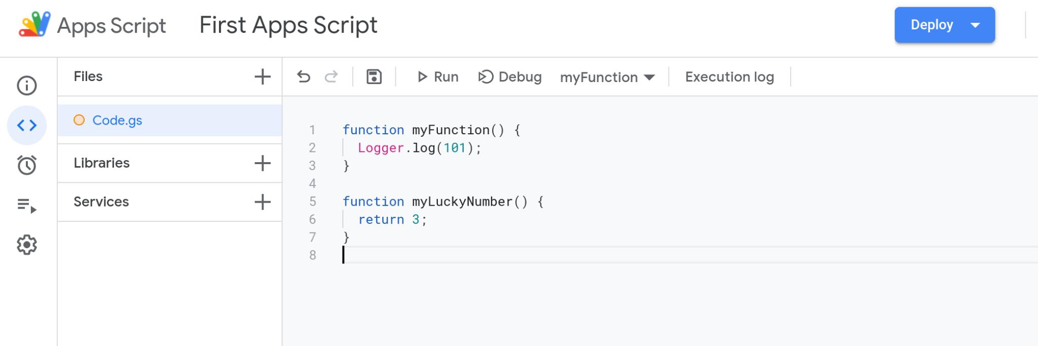 Screenshot of the Google Apps Script code editor.