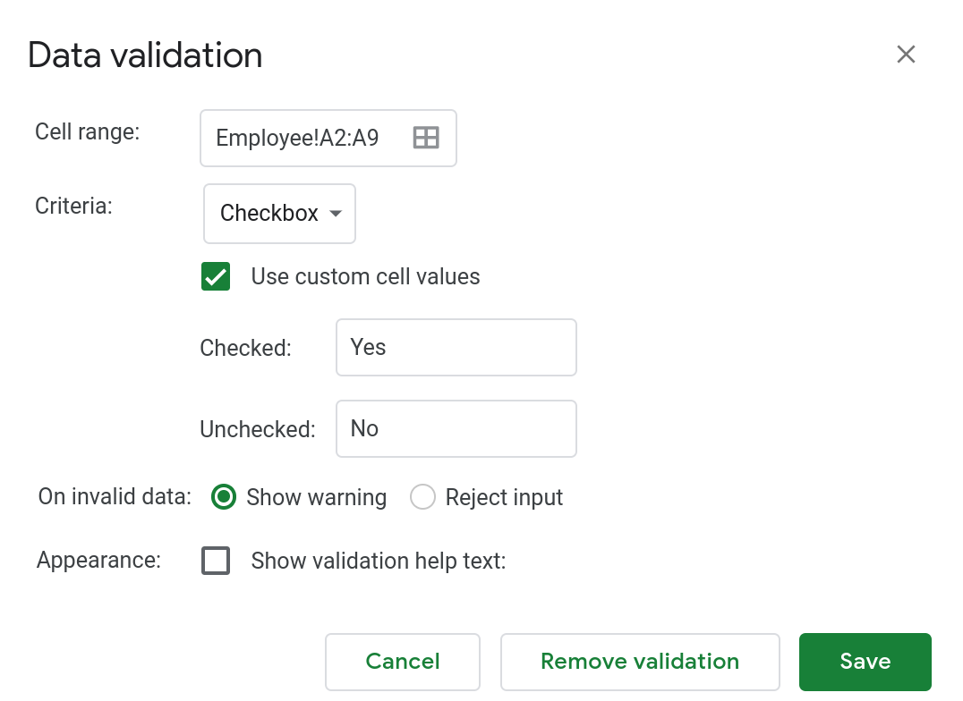 A screenshot of the data validation popup dialog in Google Sheets.