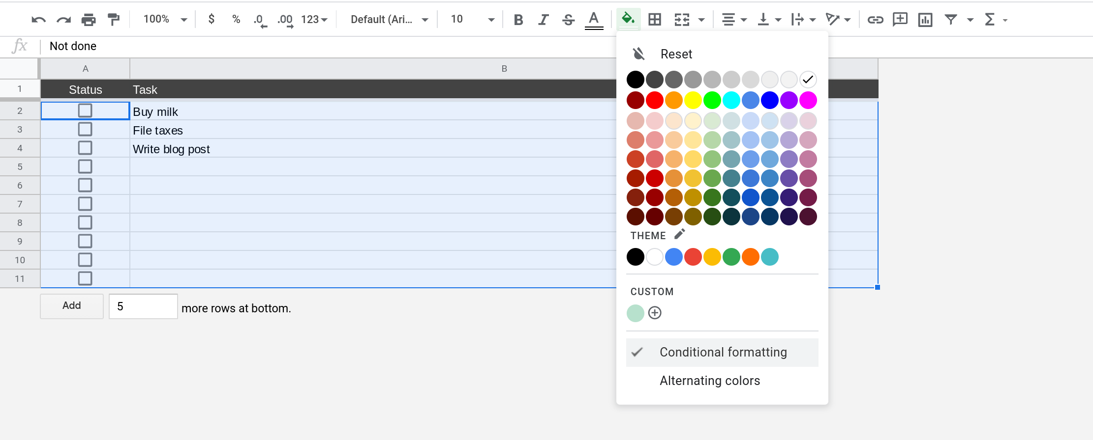 A screenshot of Google Sheets where the range A2:B is selected and the Fill color menu is open.
