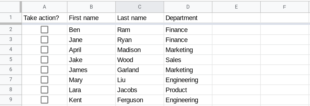 A screenshot of Google Sheets where column A contains checkboxes.