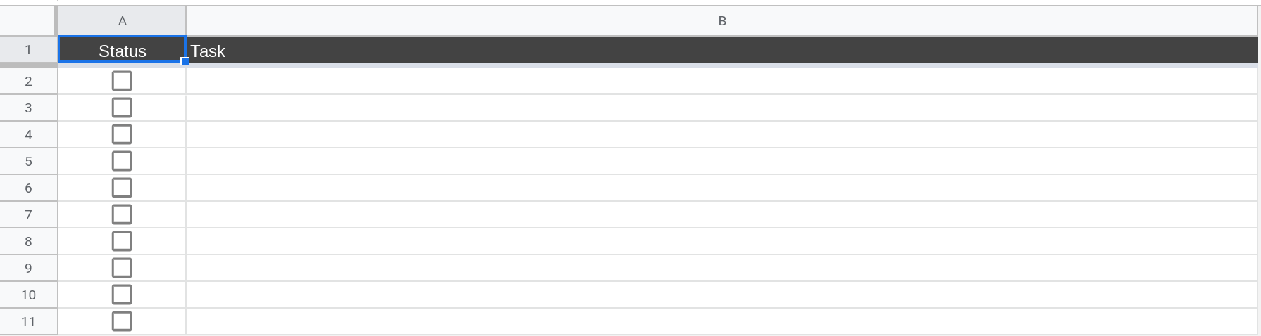A screenshot of Google Sheets where the spreadsheet has 2 columns: Status and Task. The status column contains checkboxes.
